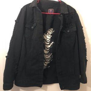 Jackets & Blazers - distressed black denim jacket